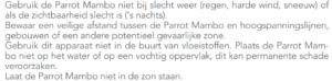 Vliegbeperkingen Parrot Mambo